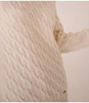 Джемпер с косами кашемировый; молочный