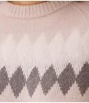 Джемпер кашемировый с ромбами; жемчужный