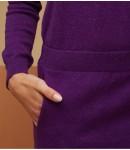 Платье кашемировое с поясом; аметист