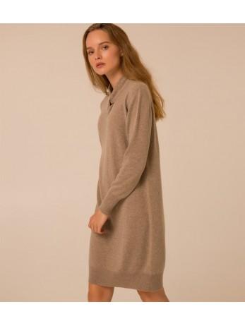 Платье кашемировое с узелком; тауп