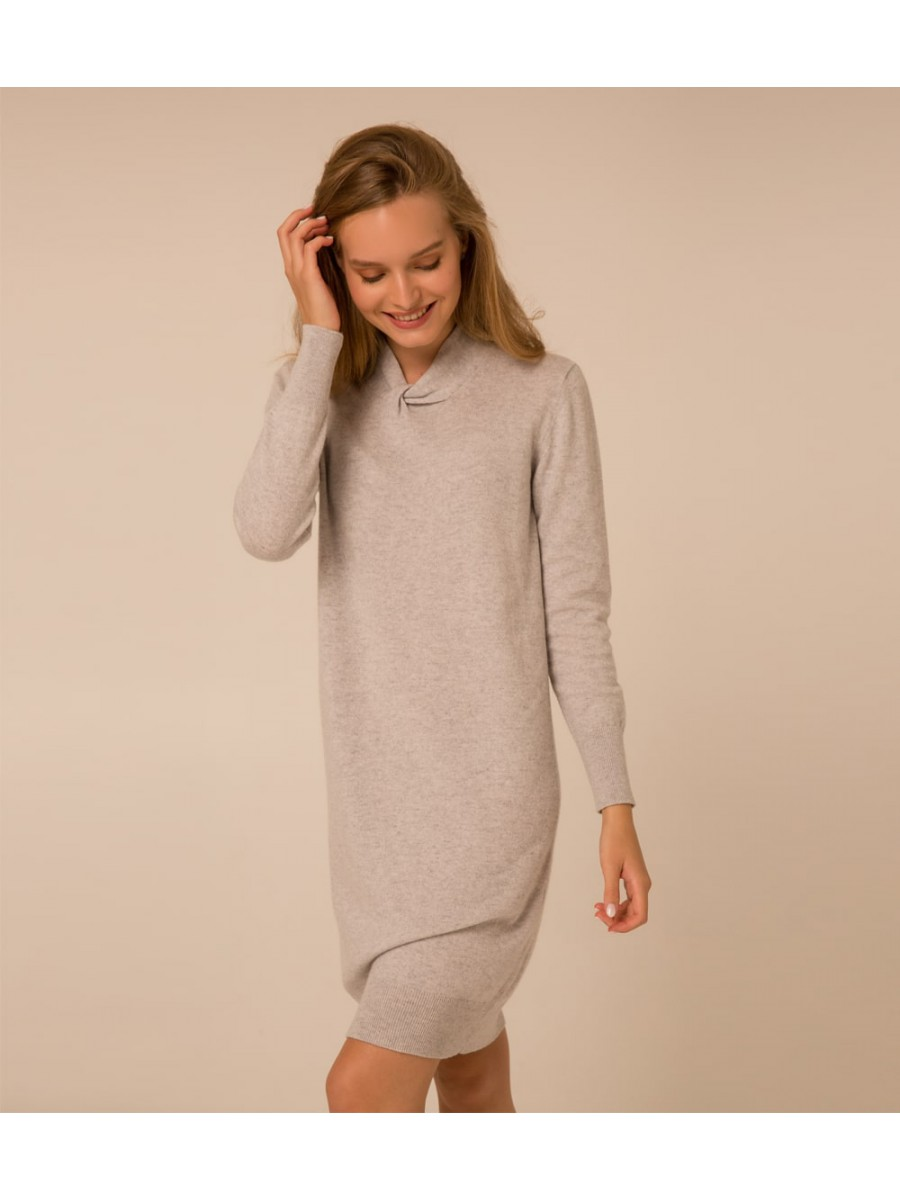 Платье кашемировая с узелком; светло-серый