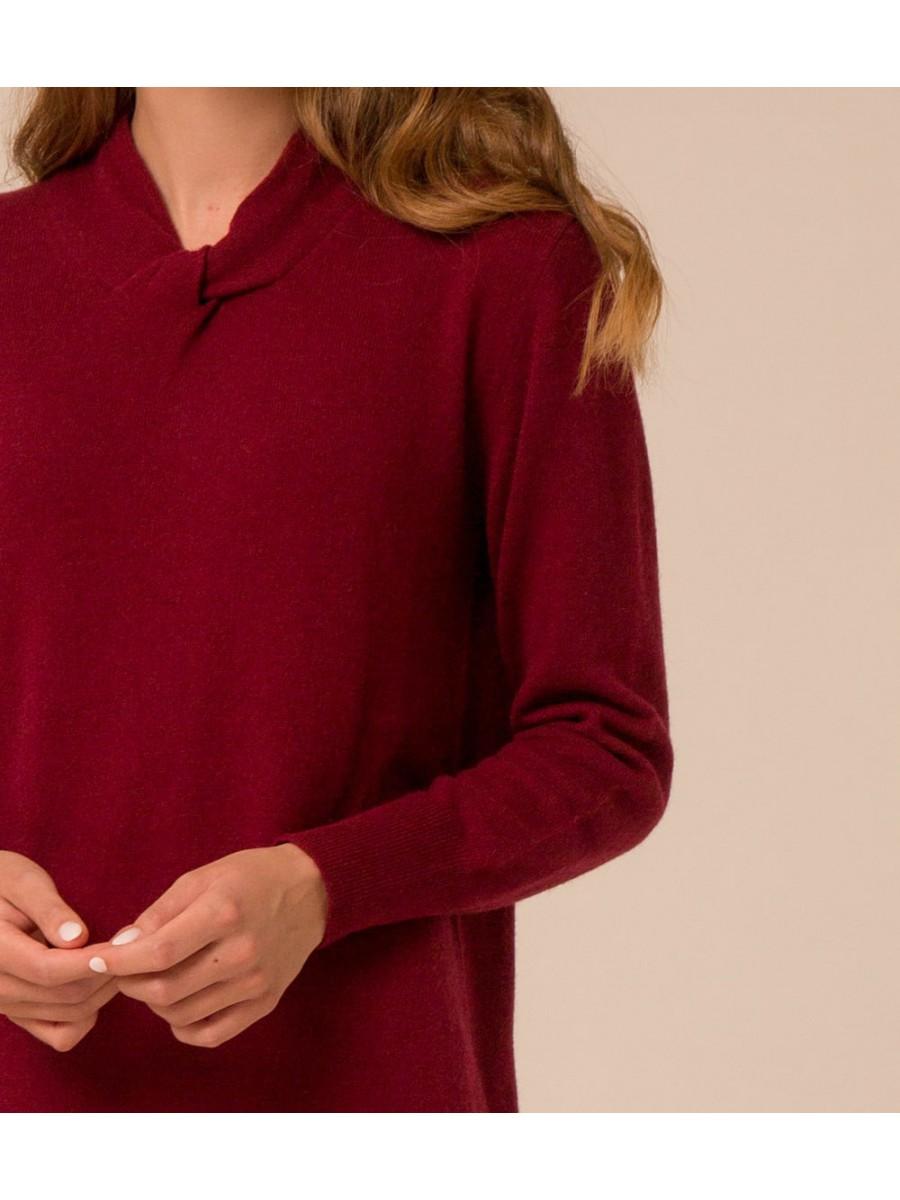Платье кашемировое с узелком; бордо