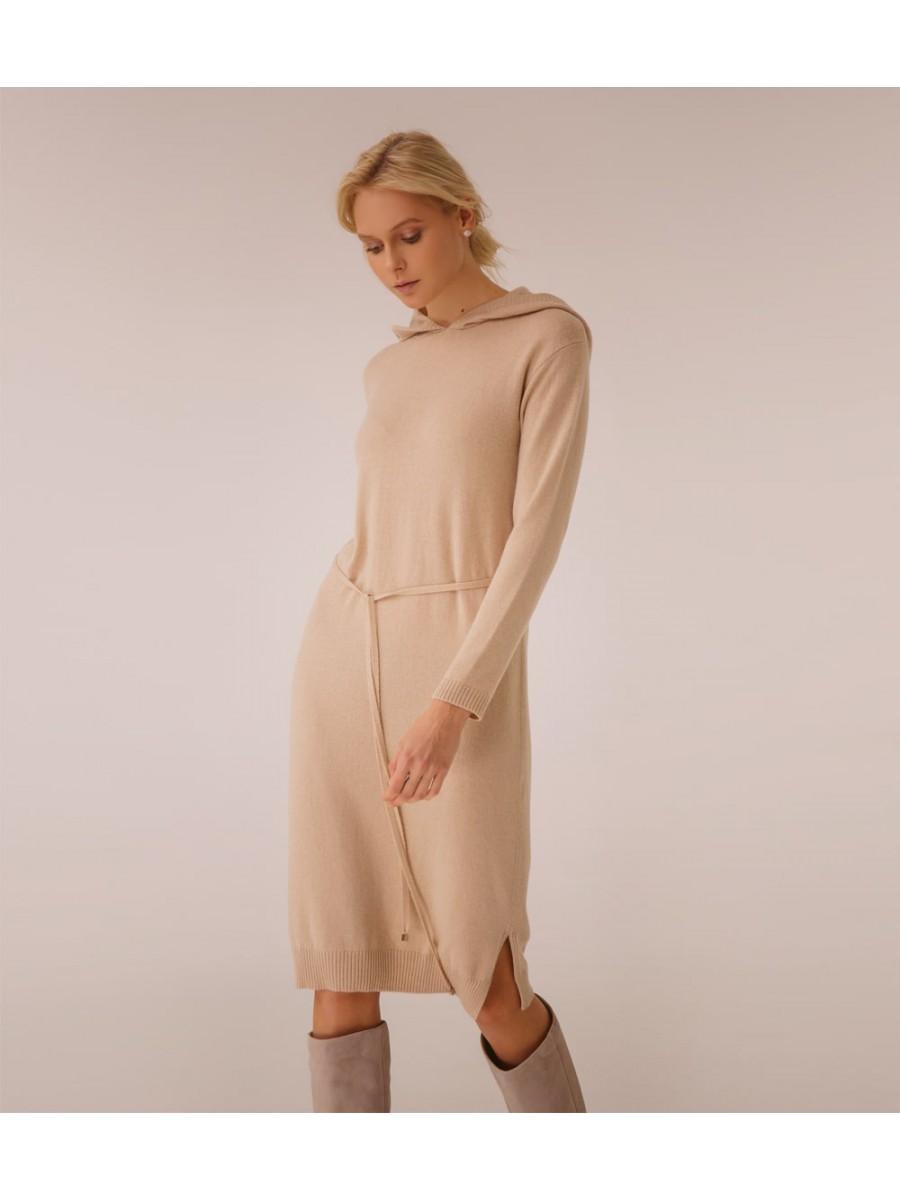 Платье кашемировое с капюшоном; песочный