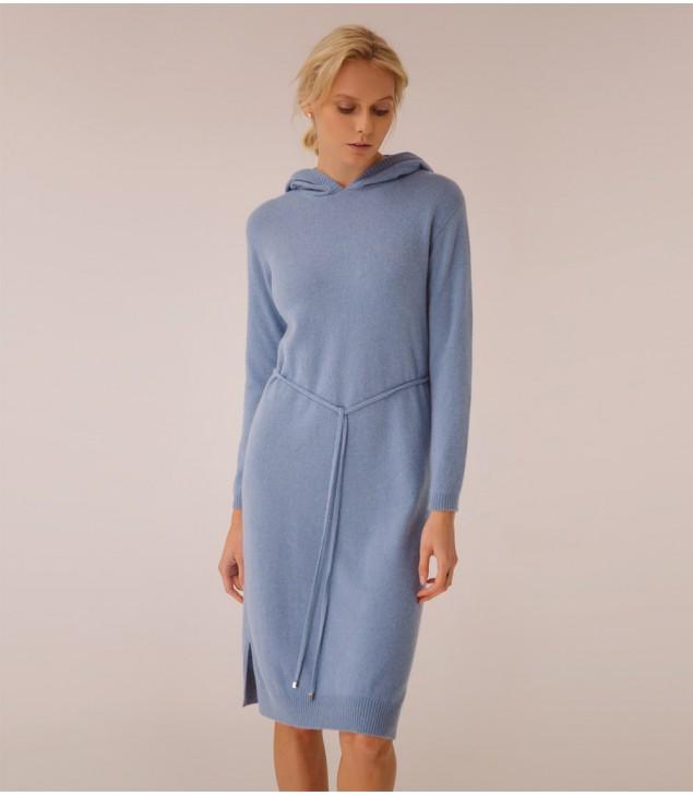 Платье кашемировое с капюшоном; голубой
