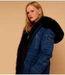 Куртка женская удлиненная; Песец соболь; джинс