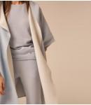 Пальто-накидка кашемировая с капюшоном; голубой / белый