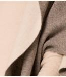 Пальто-накидка кашемировая с капюшоном; серо / белое