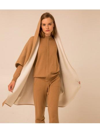 Пальто-накидка кашемировая с капюшоном; кэмел / белый