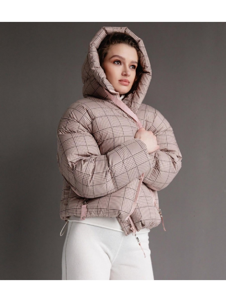 Куртка пуховик; бежевый в клетку