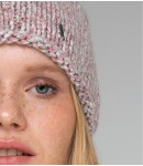 Шапка ручной вязки; розовый кварц меланж