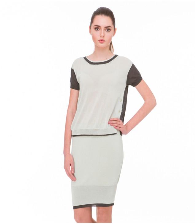 Блуза с шлицами; мята с тёмной оливой