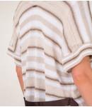 Кардиган-накидка Lino в полоску тауп