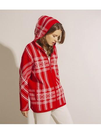 Куртка кашемировая в клеточку; красная