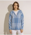 Куртка кашемировая в клеточку; тёмно-голубая