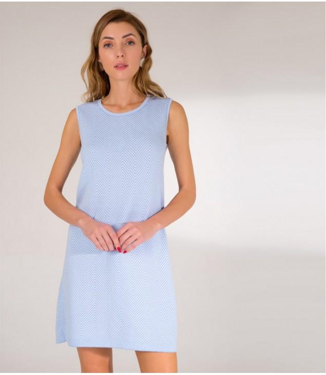 Сукня жаккардова;блакитно-біла