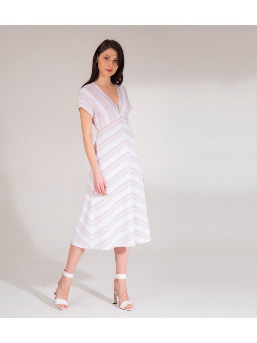 Платье Viki; белый-пудра