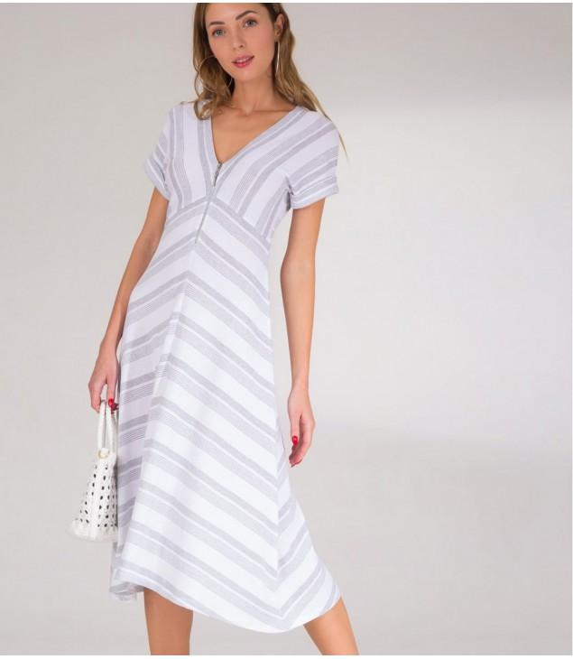 Платье Viki; бело-серый