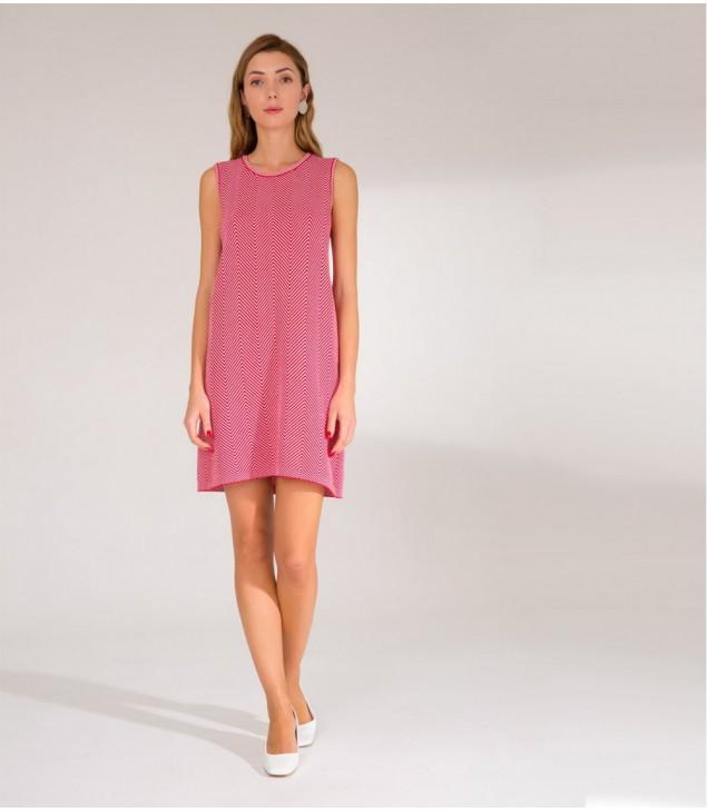 Платье жаккардовое; красно-белый