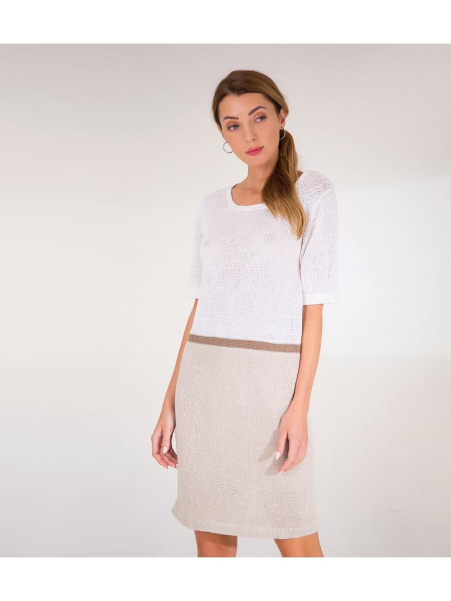 Платье Lino с полоской; слоновая кость