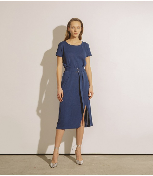 Платье под пояс с разрезом; синий