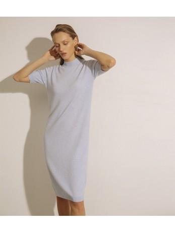 Платье кашемировое с коротким рукавом; голубой