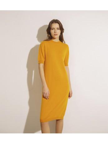 Платье кашемировое с коротким рукавом; горчица