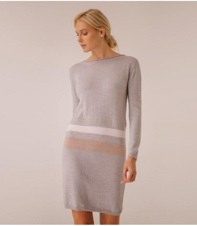 Платье Extrafine Merino Wool украшено цепочкой; серый меланж