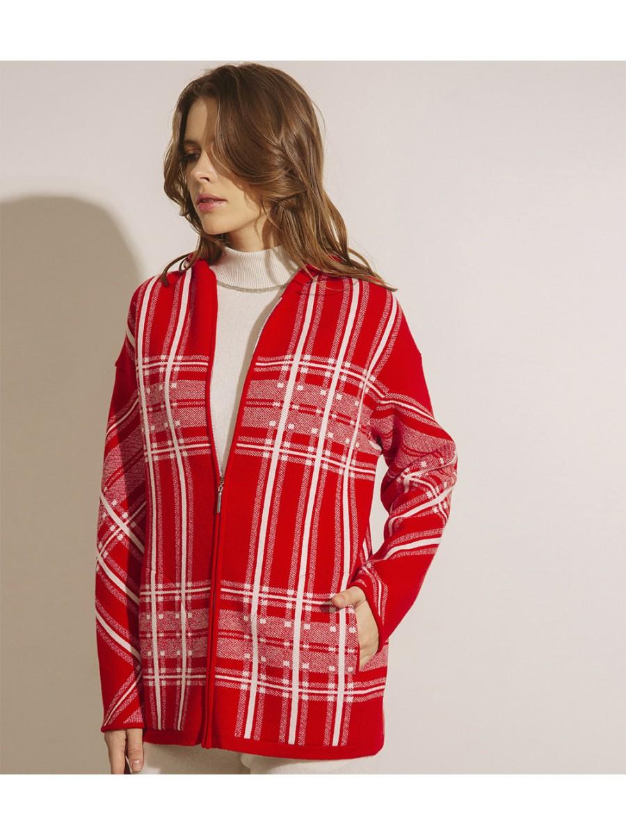 Куртка кашемірова в клітинку;червона
