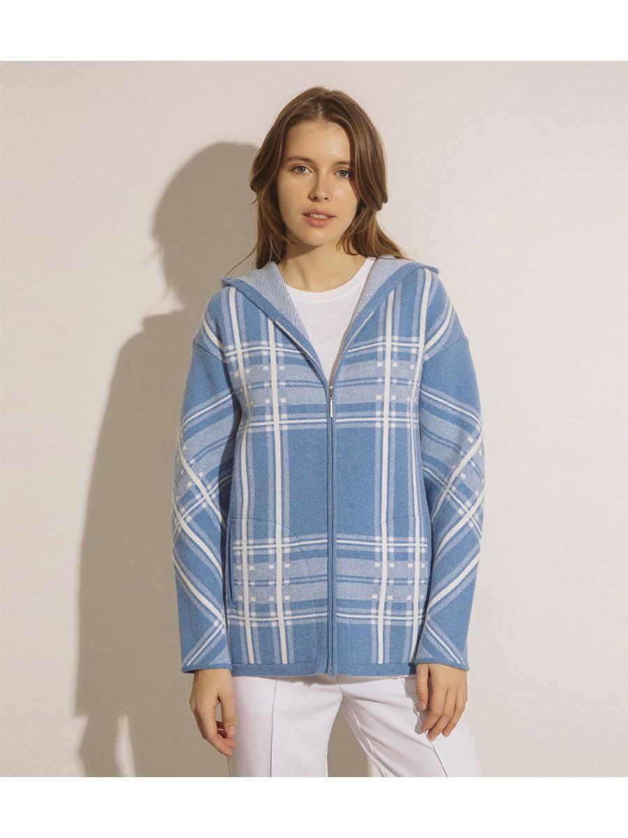 Куртка кашемірова в клітинку;темно-блакитна