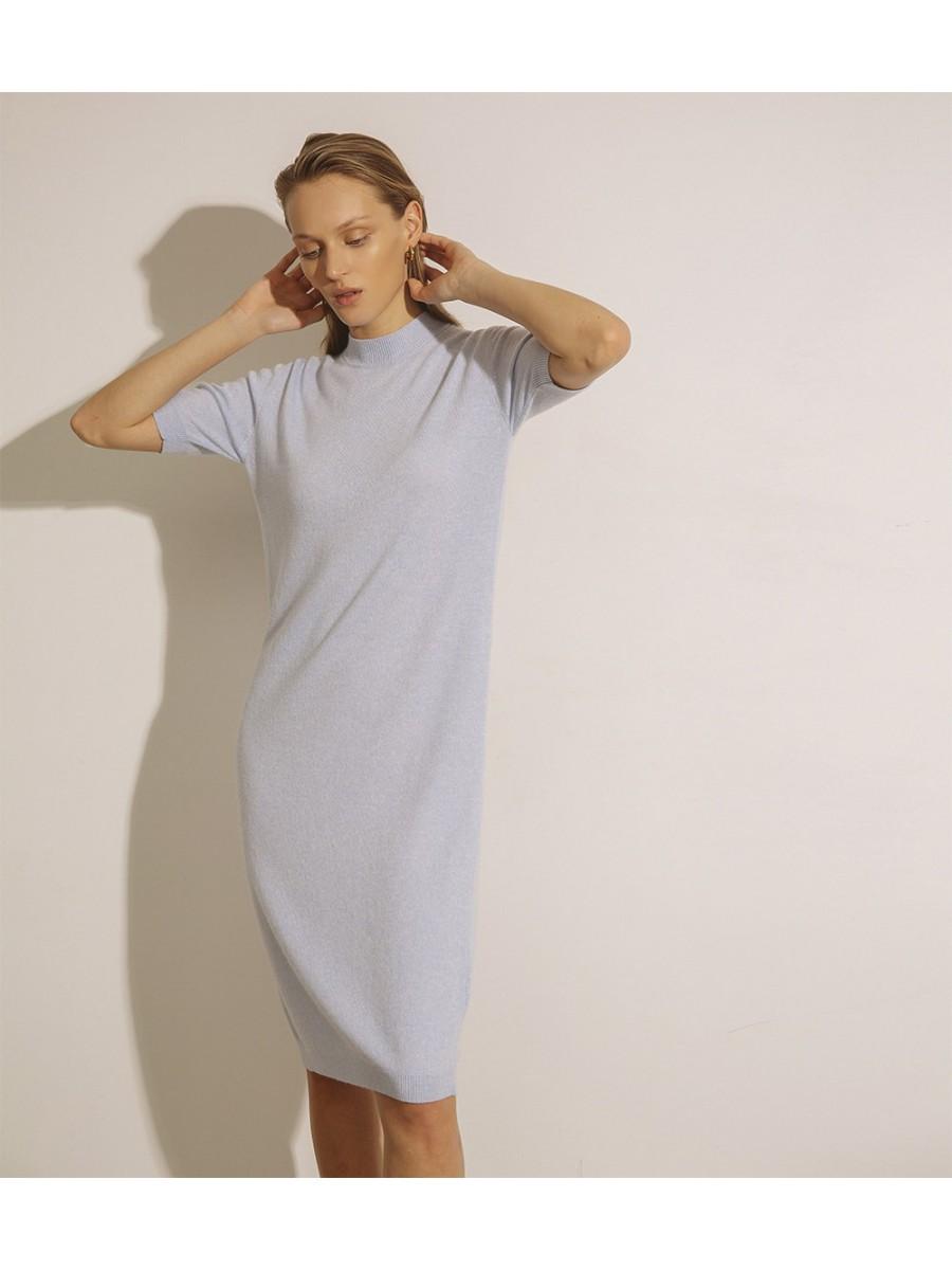 Сукня кашемірова з коротким рукавом;блакитна