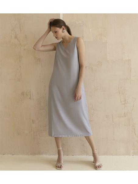 Платье льняное с тесьмой с цепочки; серо-голубой