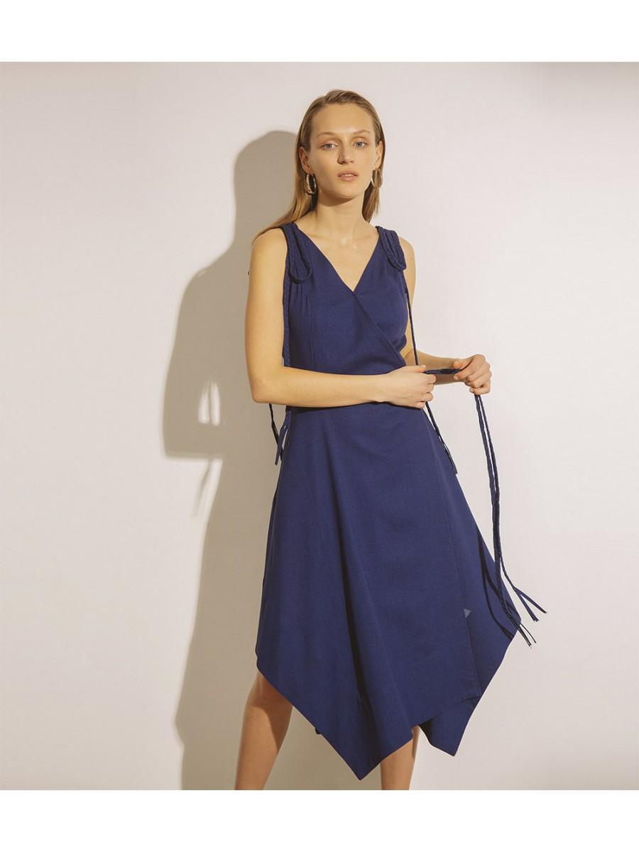 Платье льняное с косичками; синий