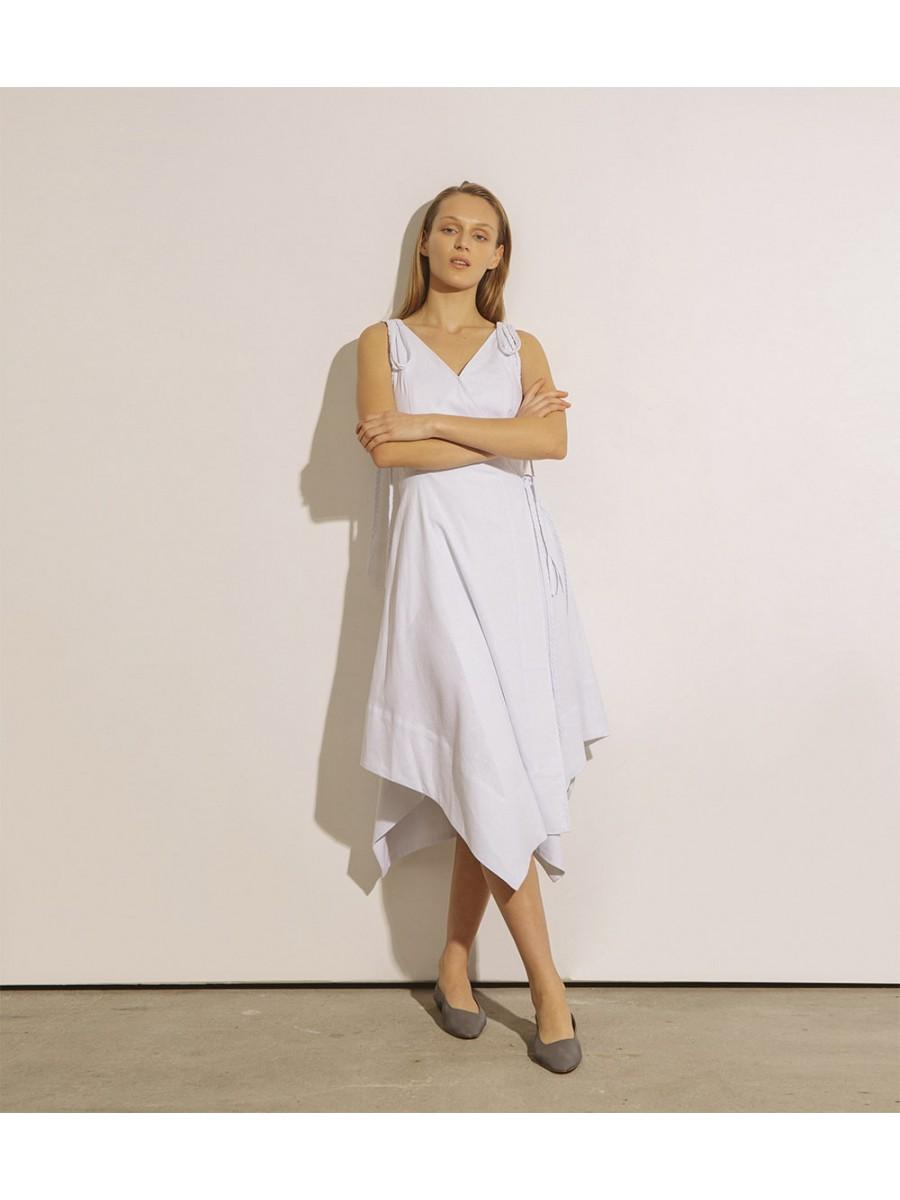 Платье льняное с косичками; белый