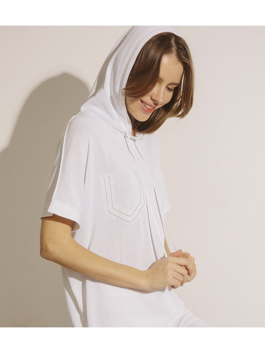 Джемпер з капюшоном;білий