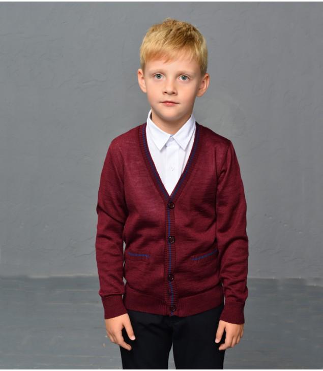 Кардиган шерстяной для мальчика; бордовый