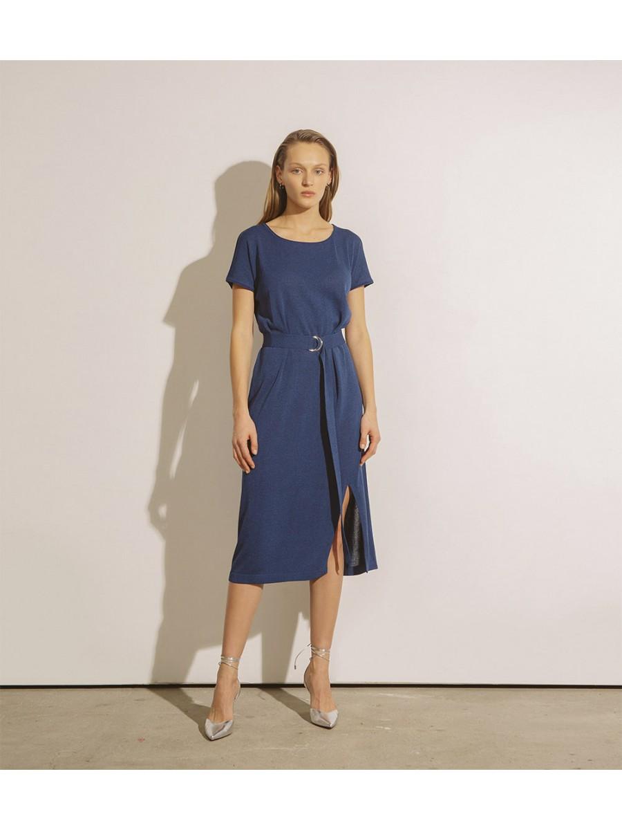 Сукня під пояс з розрізом;синій